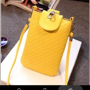 Yellow Phone & ID Holder Crossbody Bag